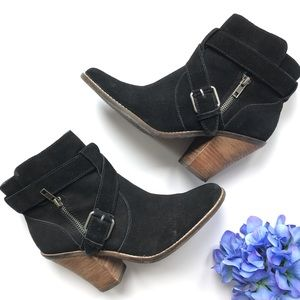 DOLCE VITA BLACK Connary Heeled Suede Boots 8.5